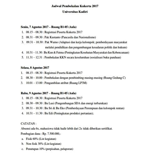 Jadwal Pembekalan KKN
